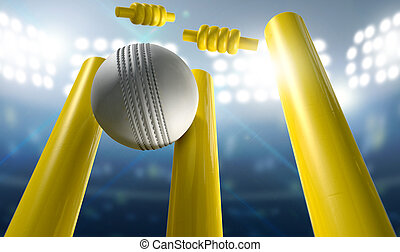 Cricket Wickets And Ball In A Stadium