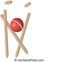 cricket wickets ball - a cricket ball and bat and wickets on...