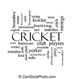 Cricket Word Cloud Concept in black and white