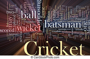 Cricket word cloud glowing - Word cloud concept illustration...