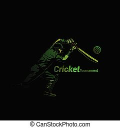 Cricketer in green vector illustration. - Cricket player...