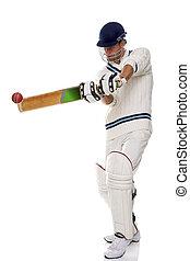 Cricketer playing ashot - Cricketer playing a shot, studio...