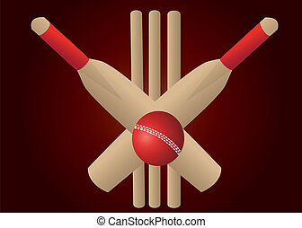 crickt bats and ball on yellow background