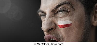 crier, country's, homme, national, figure, sien, image, drapeau