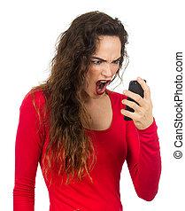 crier, femme, téléphone., elle