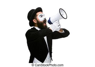 crier, figure, homme, mime, porte voix