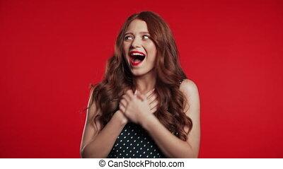 crier, heureux, studio, rouges, girl, surpris, très,...
