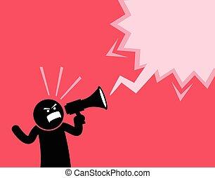 crier, megaphone., hors bruyant, homme