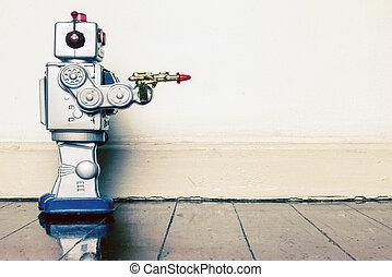 crim, fusil, robots