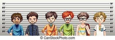 crime, être, soupçonné, hommes