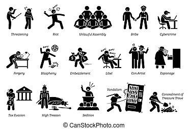Crime and Criminal. - Pictogram depicts various criminal...