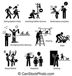 Crime and Criminal. - Pictogram depicts sexual harassment.