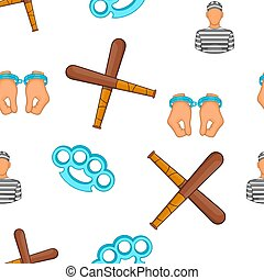 Crime and punishment pattern, cartoon style