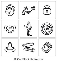Crime and the slave trade icons set.