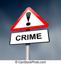 Crime awareness. - Illustration depicting a red and white...