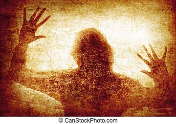 Crime background - Silhouette of woman against background of...