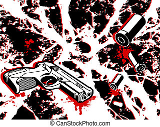 Crime city - Crime scene background with gun and bullets
