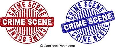 crime, filigranes, rond, scène, grunge, gratté