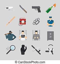 Crime flat icons