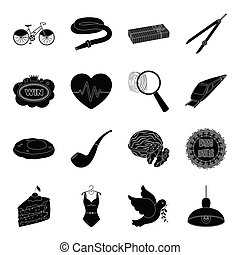 crime, food, cottage, tool and other web icon in black style. transportation, clothing, Desert, freedom icons in set collection.