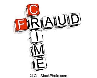 Crime Fraud Crossword - 3D Crime Fraud Crossword on white...