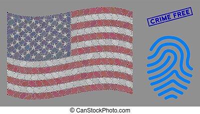 crime, gratuite, timbre, drapeau américain, empreinte doigt...