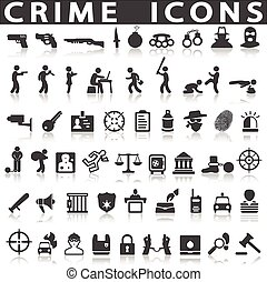 crime icons on a white background with a shadow