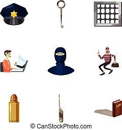 Crime icons set, cartoon style