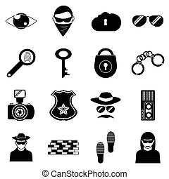 Crime icons set, simple style