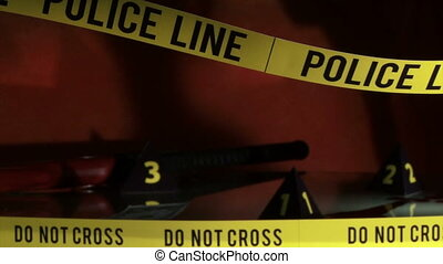 Crime Investigation, police line, yellow tape, scene. Camera...