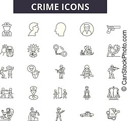 Crime line icons, signs set, vector. Crime outline concept, illustration: crime,security,law,criminal,justice,legal