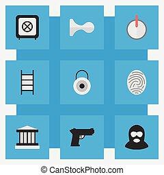 crime, outro, vetorial, grille, cofre, icons., synonyms, climbing., elementos, jogo, simples, fechadura, criminal, senha, ilustração