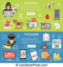 crime, phishing, hacher, bannières, cyber