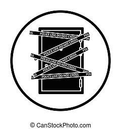crime, porte, scène, icône