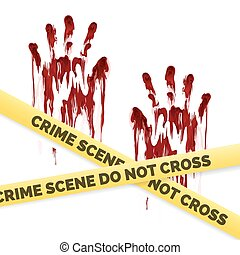 Crime poster with bloody handprints and police crime scene scoth isolated on white background. Vector illustration