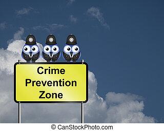Crime Prevention UK - Comical UK crime prevention zone sign...