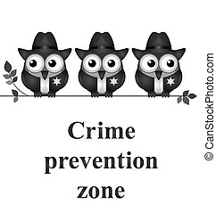 Monochrome comical crime prevention zone USA version isolated on white background
