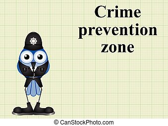 Crime prevention zone UK with policeman on graph paper...