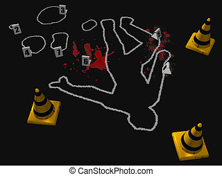 Crime Scene 1 - 3D render depicting a crime scene with a...