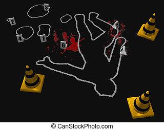 Crime Scene 1 - 3D render depicting a crime scene with a...