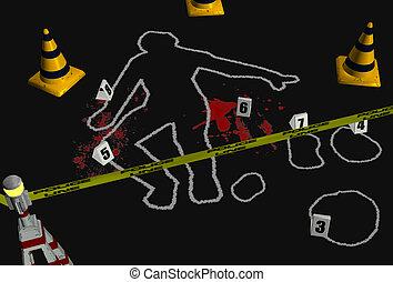 Crime Scene 2 - 3D render depicting a crime scene with a...