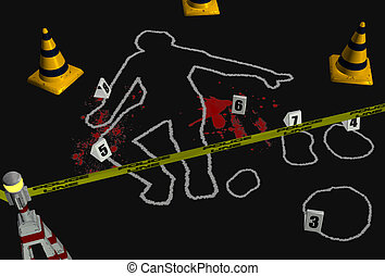 Crime Scene 2 - 3D render depicting a crime scene with a...