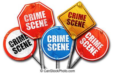 crime scene, 3D rendering, street signs