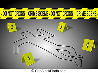 Crime scene - A body outline with crime scene tape and...