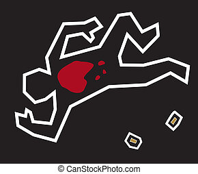 Crime Scene - A stylized illustration of a classic crime...