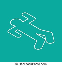 Crime scene Chalk silhouette corpse. Chalk outline of dead body. Vector illustration.
