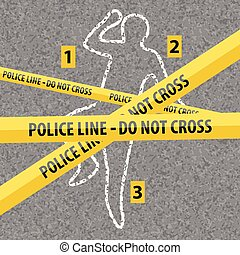 Crime Scene Contour Body with Chalk