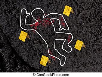 Crime scene danger tapes illustration on wall texture...