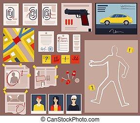 Crime scene detective board with criminal evidence, fingerprints