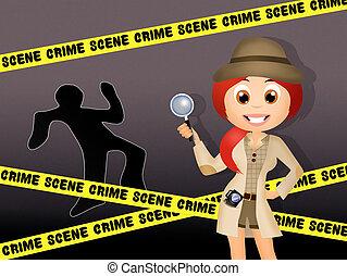 crime scene - illustration of crime scene